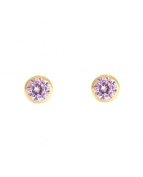 Ohrringe Anna klein gelbgold rosa frontal
