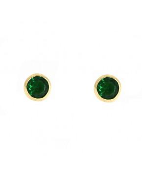Ohrringe Anna klein gelbgold smaragd grün frontal