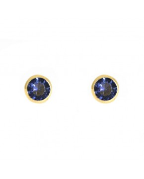 Ohrringe Anna klein gelbgold tansanite blau frontal