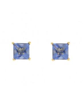 Ohrringe Maria groß gelbgold tansanite blau frontal