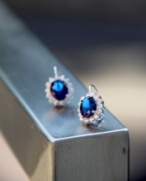 Ohrringe Sissi silber saphir blau beide