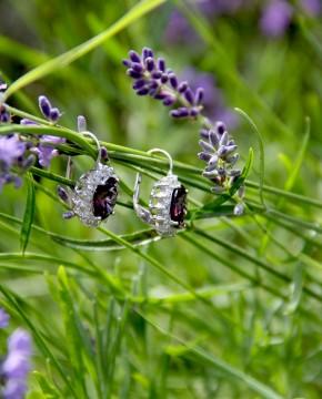 Sterling Silber Ohrringe lila Sissi seitlich im Lavendel