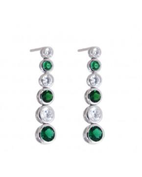 Ohrringe Sophia silber smaragd grün weiß frontal