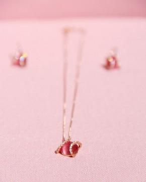 Set Ohrringe Mia rosé pink und Kette mit Armband