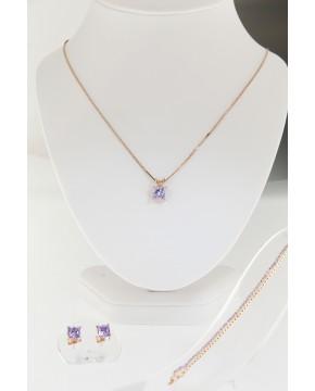 Schmuck-Set aus Ohrsteckern, Kette, Armband  Maria rose lavendel