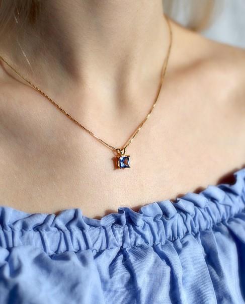 Goldener Kettenanhänger blau Maria mit vergoldeter Sterling Silber Kette