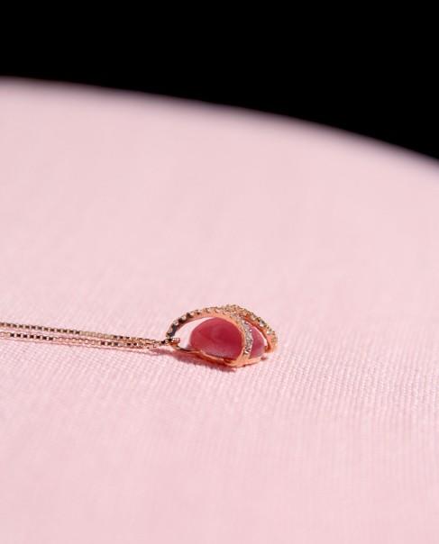 Kette mit Anhänger Mia rosegold pink seitlich