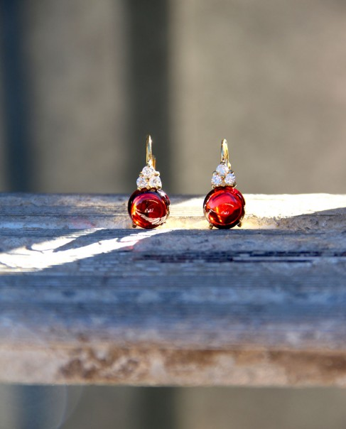 Goldene Sterling Silber Ohrringe rot Amalia frontal
