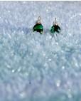 Goldene Ohrringe grün Amalia frontal im Eis